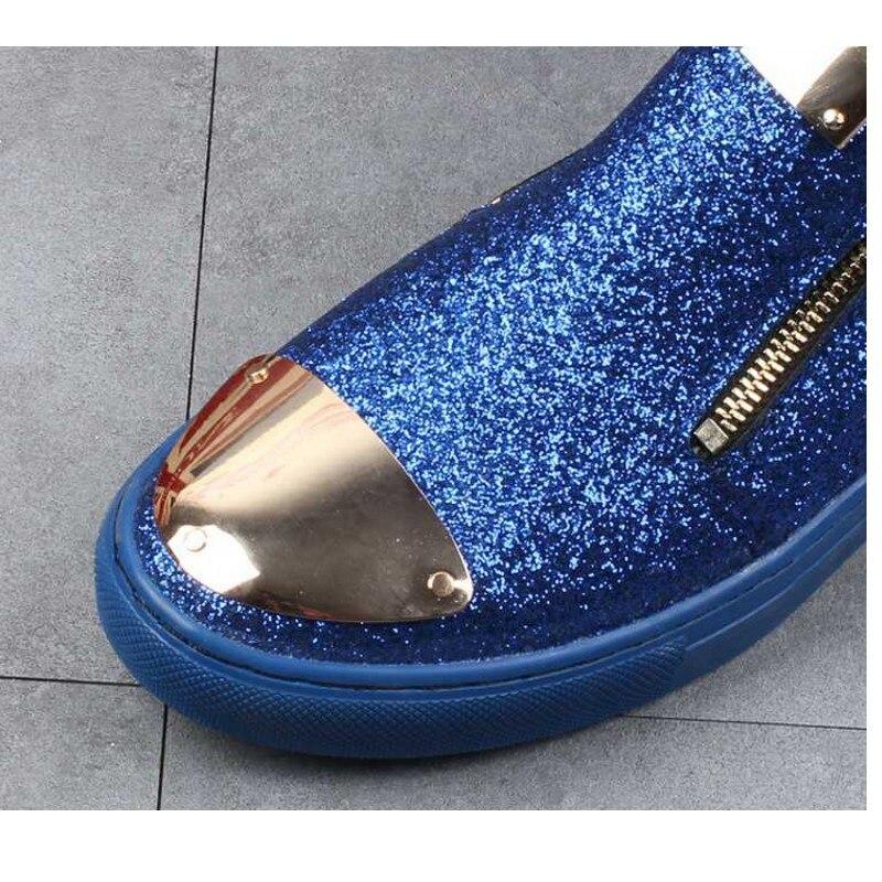 Vestido Hombre Zapatos plata Hombres Superior Ovxuan Mocasines Moda Metal Boda azul Alta Lentejuelas Los Para Lujo Fiesta Pisos De 2019 Real Negro Hxqvqaf