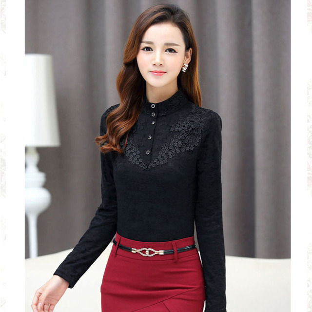 Autumn Elegant Lace Blouse Women Stand Ladies Tops Long Sleeve Button Shirt Fashion Korean Clothes Femme DD2252 5