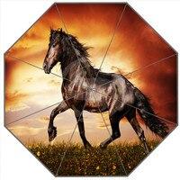 Neu Kommen Kundenspezifische pferde Sonnenschirme Kreative Design Hohe Qualität Faltbare Regen Regenschirm-in Schirme aus Heim und Garten bei