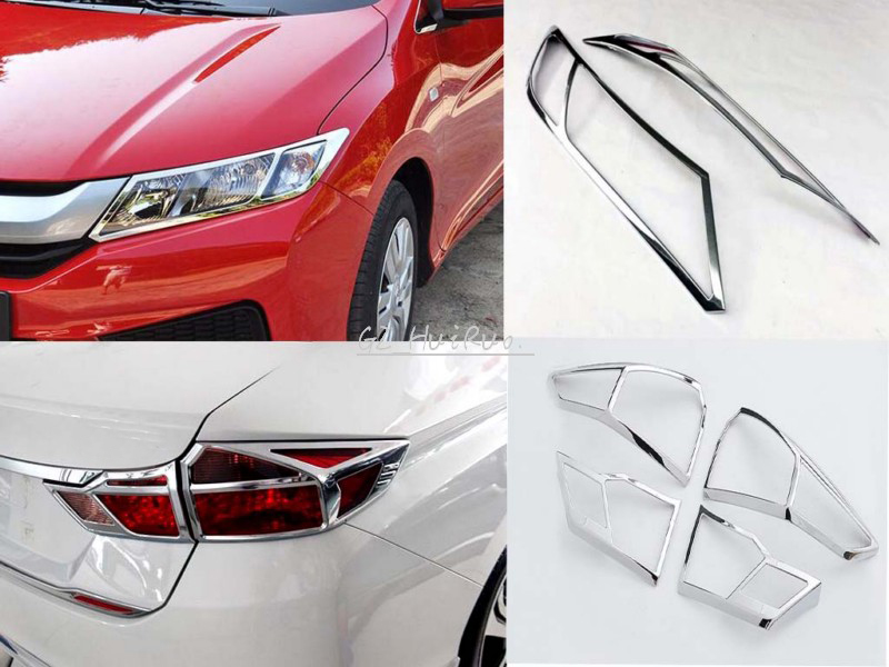For Honda City 2014 2015 2016 ABS Chrome Front + Rear Light Lamp Cover Trim 6pcs