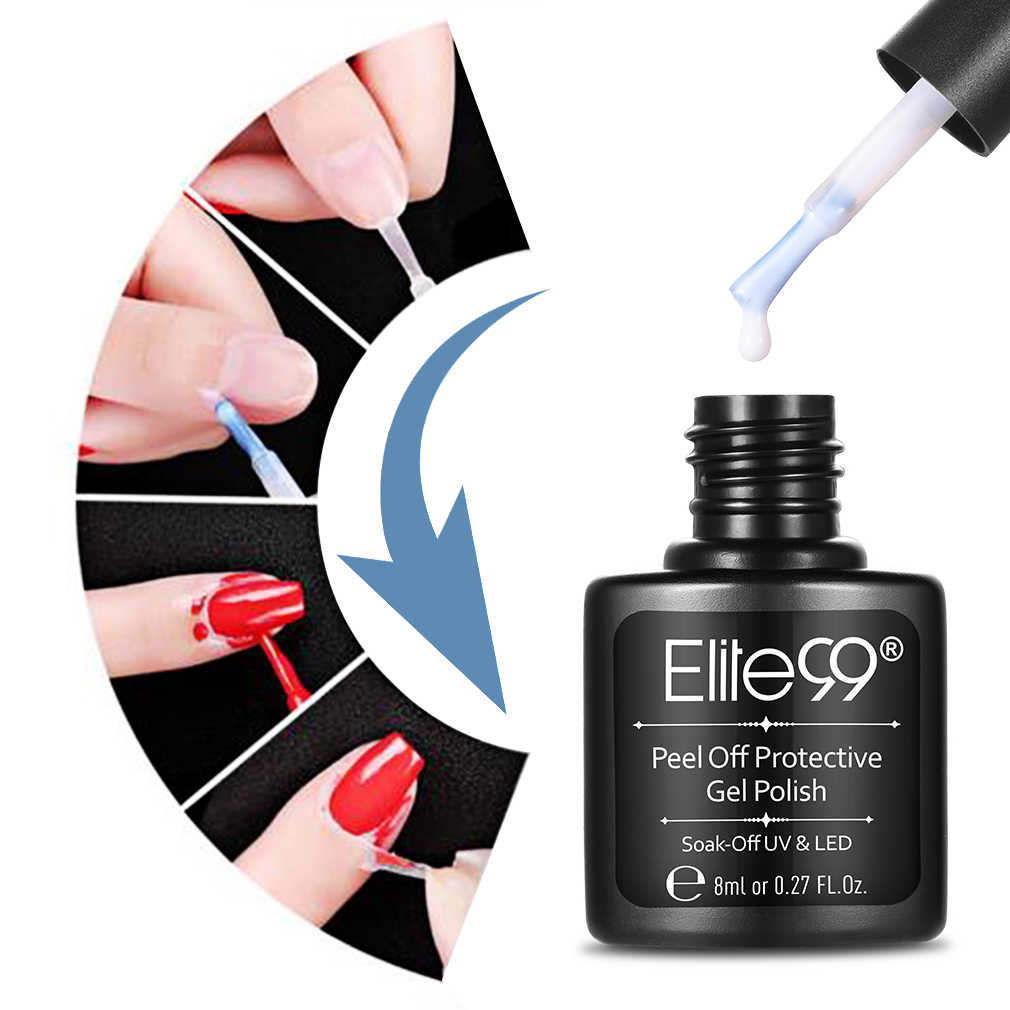 Elite99 8ML Rosa Blanco cáscara de uñas protectora cuidado de las uñas crema protección de la piel cinta líquida Gel esmalte de uñas manicura bricolaje