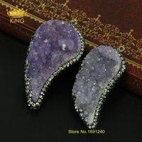 Purple Color Titanium Crystal Druzy Gem Stone Paved Rhinestone Beads Pendant Natural Quartz Stone Pendant Charm