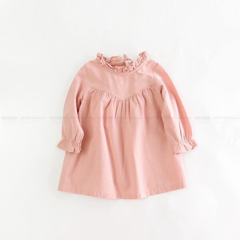 8c5bd1090f8 Retail children girl spring cotton and linen dress vintage baby girl Loose  shirt dress high quality girl blouse autumn clothes-in Dresses from Mother    Kids ...