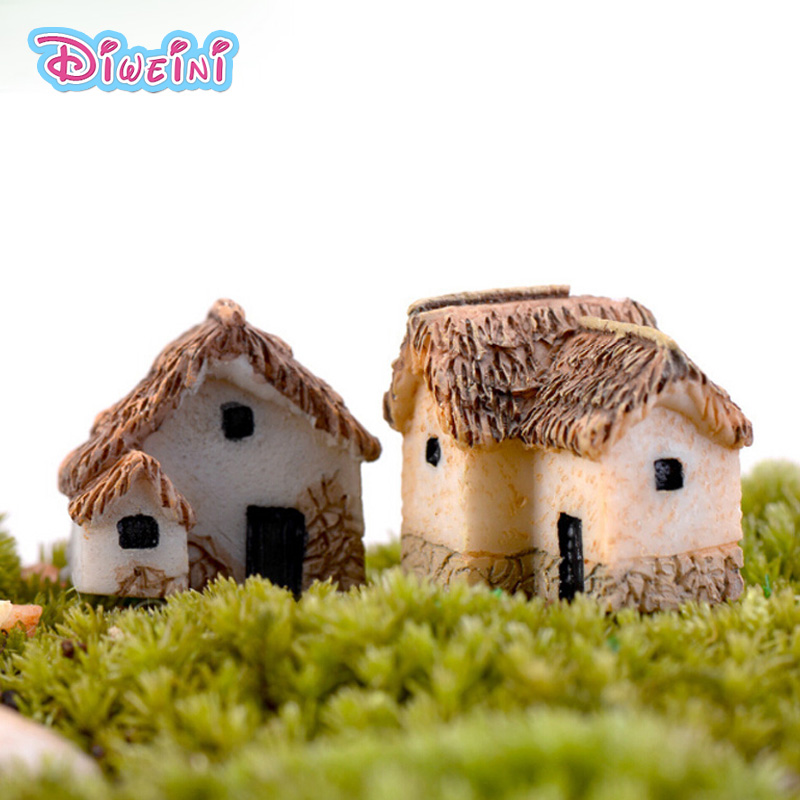 House Figurine Resin Craft House Figure Mode Miniature Figurine Pretend Play Kitchen Toy Doll House DIY Accessories Gift Baby Gi