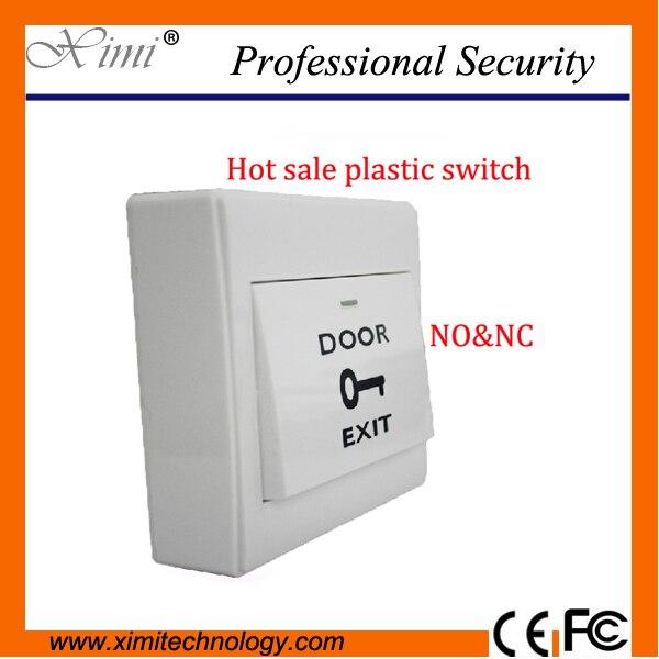 Hot Sale NO& NC Push Button Fireproof White PVC Plastic exit switch for access control no doubt no doubt push shove