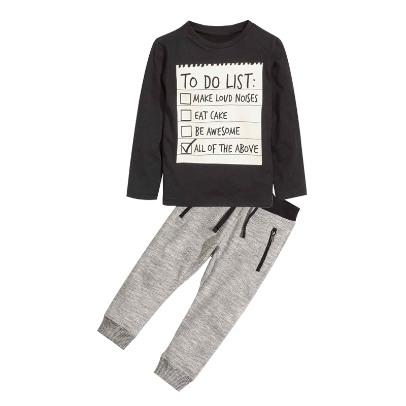 Menoea Baby Boy Clothing Set 2017 New Spring and Autumn Dark Grey long sleeve t-shirt + casual long pants 2pc suit kids clothes new hot sale 2016 korean style boy autumn and spring baby boy short sleeve t shirt children fashion tees t shirt ages