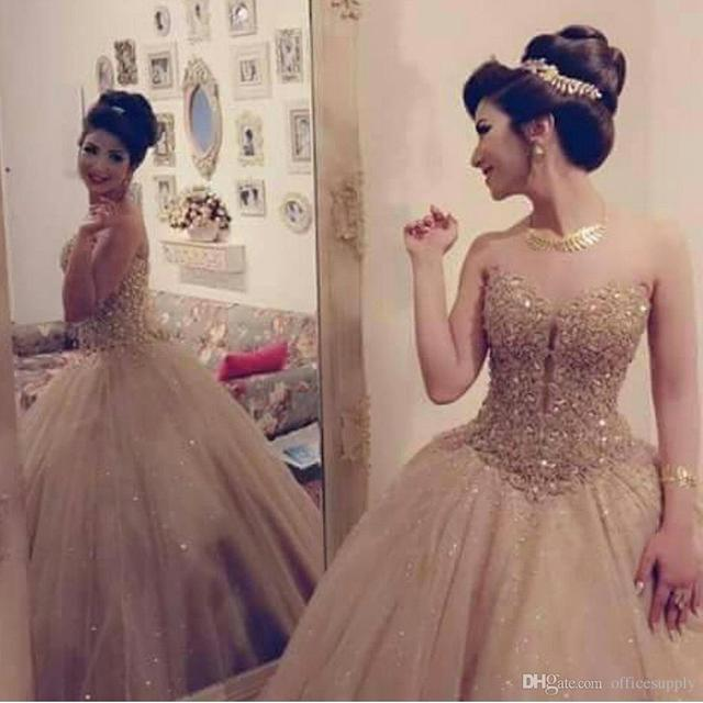 Luxury Gold Sweetheart Neckline Tulle Ball Gown Quinceanera Dress With Lace Sequin Bodice Sweet 16 Dress