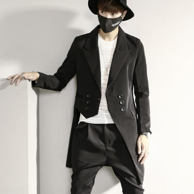 Man Asymmetric Casual Slim Fit Long Blazer Double Breasted Wedding Party Hip Hop Punk Suit Jacket Nightclub Singer Stage Costume