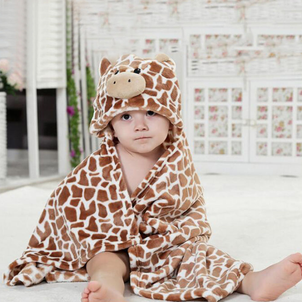 Childs Clothing Blanket Flannel Plush Bedding Set Soft Lovely 3D Cartoon Infants Hooded Towels For Children Blanket 76 * 92CM