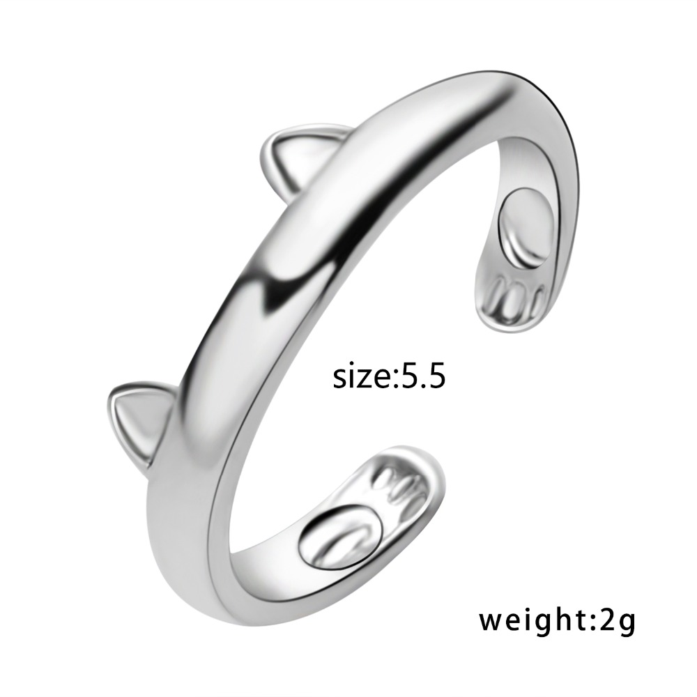 Silver Plated Cat Ear Ring Design Cute Fashion Jewelry Cat Ring For Women and Girl Gifts Adjustable Cuff Rings 1
