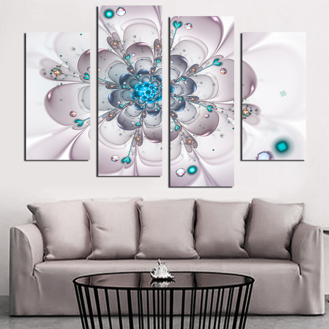 Large Blue Flower Wall Art Canvas Painting Home Decoation Picture On ...