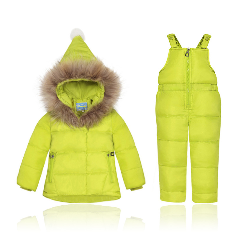 2018 Winter Children's Down Jacket and Overall Set Baby Girls Boys Snowsuit Children's Clothing christmas 2017 brand new winter newborn infantil baby rompers kid boys and girls clothing real fur jumpsuit down overall jacket
