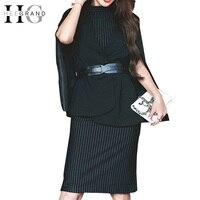 HEE GRAND 2018 Spring Women Striped Sleeveless Sexy Bandage Dress Black Blazer Cloak With Sashes Work