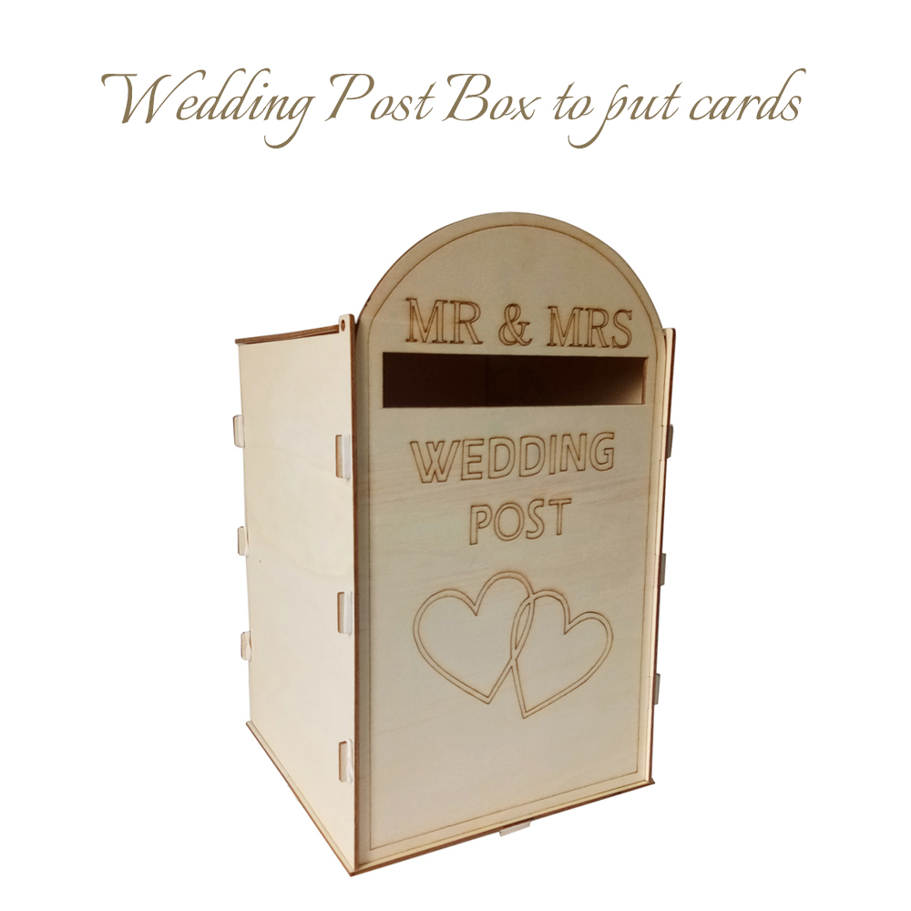 Wedding Gift Post Box: DIY Wooden Wedding Mailbox Post Box With Lock Rustic