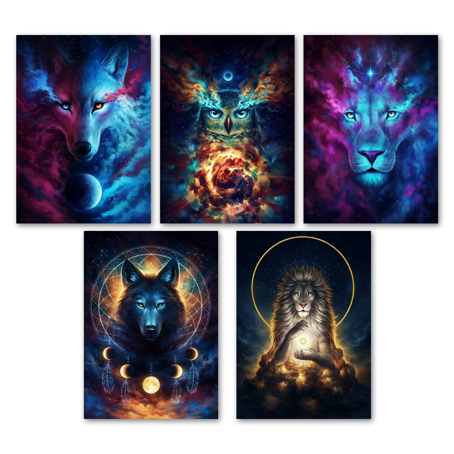 Watercolor Abstract Lion Owl Wolf Galaxy Wall Art Canvas Painting Nordic Posters And Prints Wall Pictures For Living Room Decor