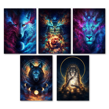 Watercolor Abstract Lion Owl Wolf Galaxy Wall Art Canvas Painting Nordic Posters And Prints Pictures For Living Room Decor