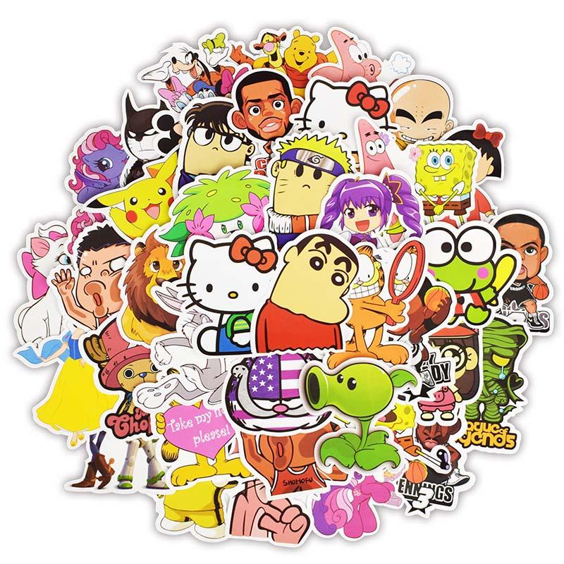 50pcs Hero Cartoon Sticker Smile Face Emoti Toys for Children Waterproof Decor Stickers to DIY Scrapbooking Book Laptop Suitcase