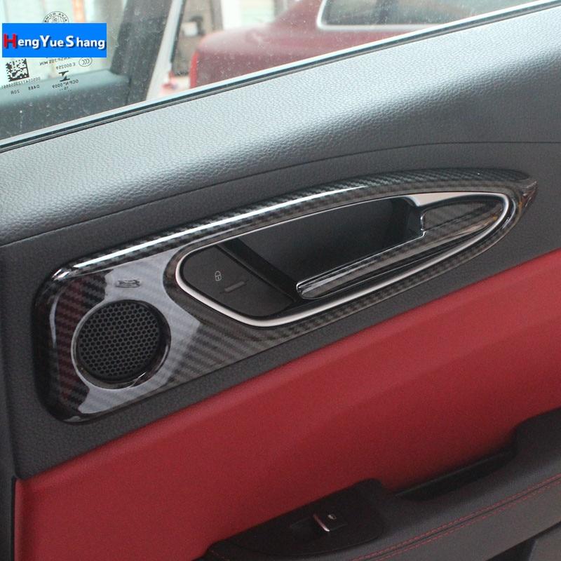 4PC ABS Carbon Fiber Style Door Inner Handle Frame Decoration Doorknob Trim Decals for Alfa Romeo
