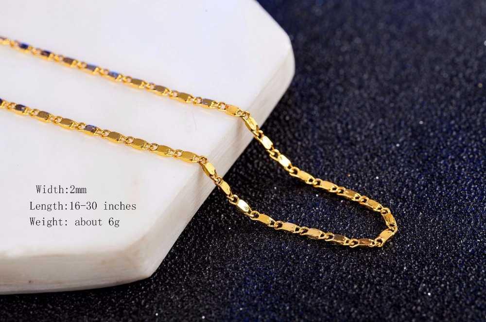 """10 יח'\חבילה סיטונאי כסף שרשראות שרשרת, 2mm 925 תכשיטי זהב/כסף מצופה קישור שרשרת שרשראות 16 """"-30"""", אורך פיק!"""