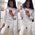 Женщины Блузки Рубашка Топы 2016 Весна Лето Женщины С Длинным Рукавом Кружева блузка Теплый Хлопок Белая Рубашка Плюс Размер Женщины Блузка Топ 1 ШТ.