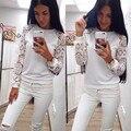 Blusas de las mujeres Tapas de La Camisa 2016 de Primavera y Verano de Las Mujeres de Manga Larga de Encaje Camisa Blanca blusa de Algodón Caliente Más El Tamaño Mujeres Top de La Blusa 1 UNID