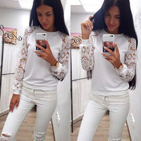 Women Blouses Shirt Tops 2017 Spring Summer Women Long Sleeve Lace Blouse Warm Cotton Shirt White Casual Women Blouse Top 1PC