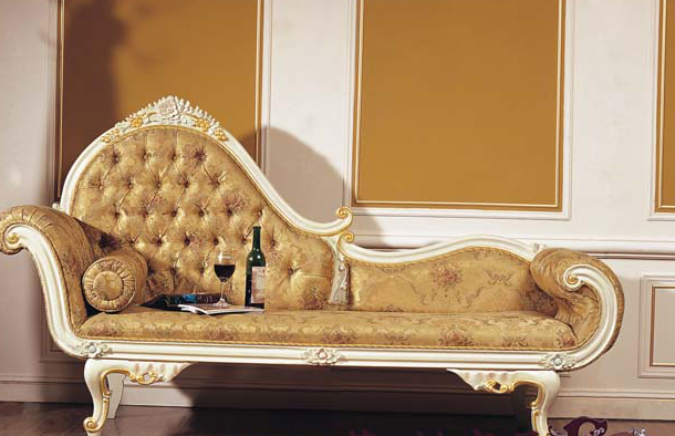 Chaise Loungers French Romantic Classic Handmade Wooden Bedroom Furniture  Carved Ornate European Style Sofa Recliner
