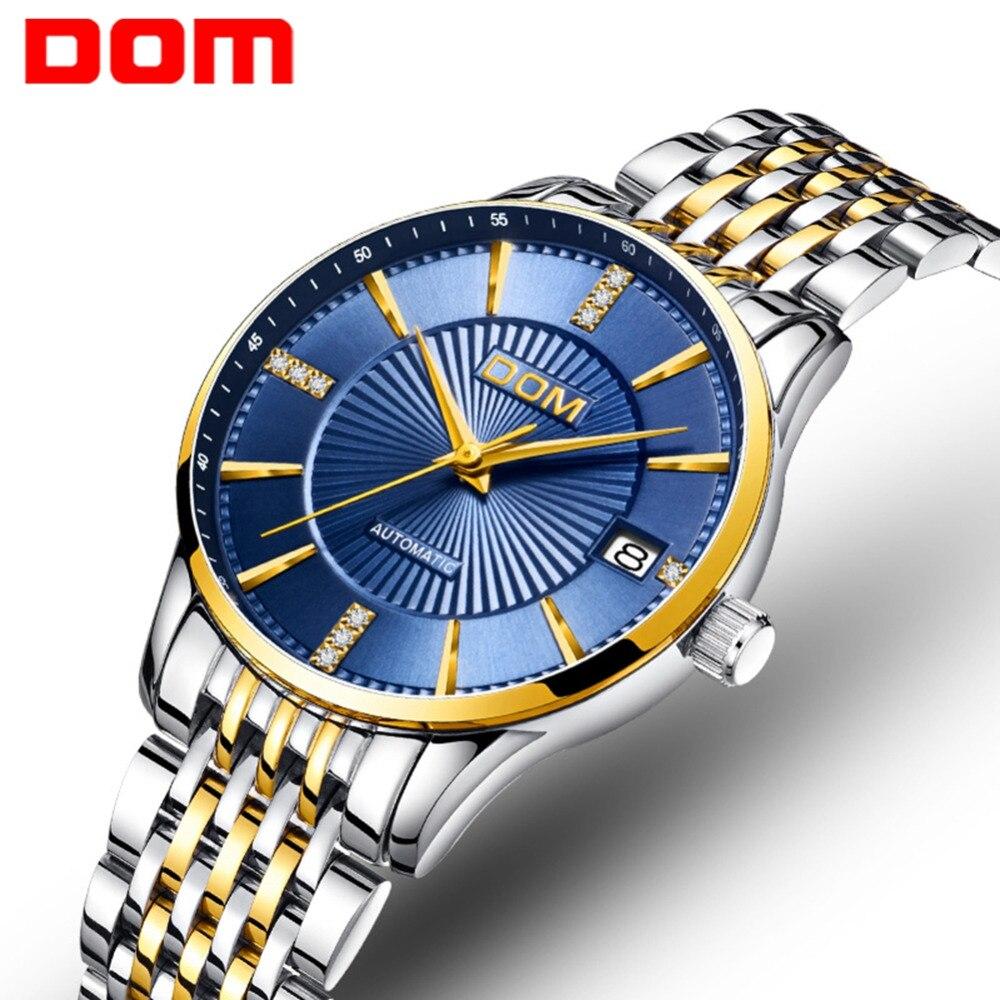 Saatler'ten Kadın Saatleri'de DOM Mekanik Saat Kadınlar Otomatik Saatler Kadın Iş Saati Reloj Mujer Su Geçirmez Bayan Kol Saati Relogio Feminin Oymak G 79'da  Grup 1