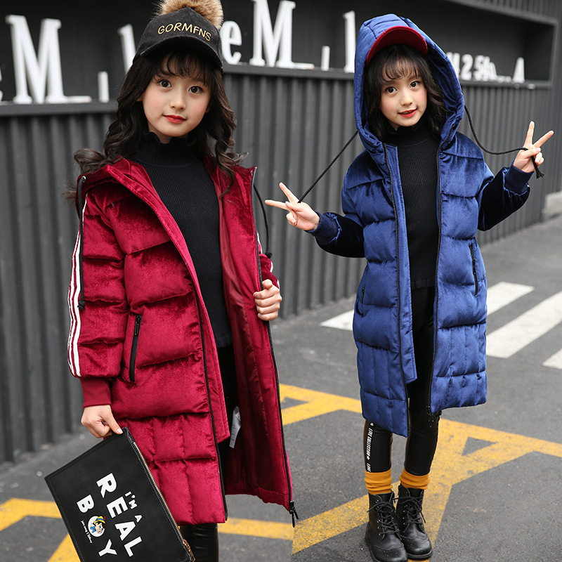 2017 New Fashion Children Winter Jacket Girl Winter Coat Kids Warm Thick Hooded long down Coats For Teenage 7Y-14Y 2017 fashion teenage girl winter down jackets fur collar children coats warm thick kids outerwears for cold 30 degree jacket