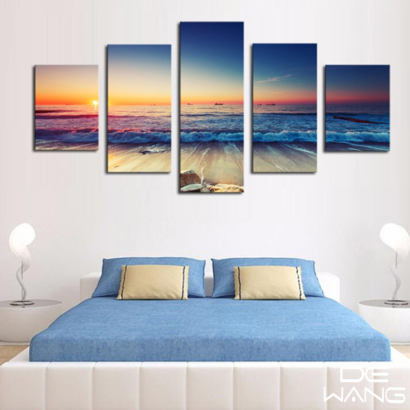 5 Panels Sunset Seascape Canvas Art Pictures Print Framed ...