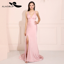 Alagirls Sexy Backless Mermaid Prom Dresses 2019 V Neck Evening Dress Vestido de fiesta Formal Party noche