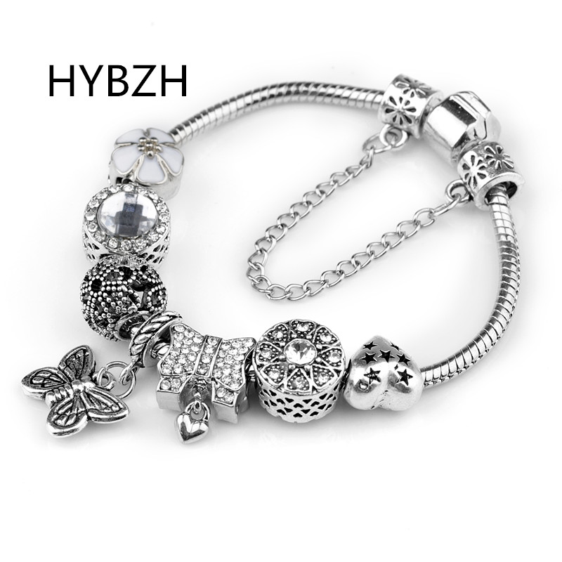 HYBZH Europe various style Fashion Jewelry Crown charm Bracelets Bangles violet Glass European Beads fits