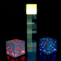 Minecraft Light Up Figures Redstone Ore Square Toys Minecraft Night Light LED Figure Toys Light Up