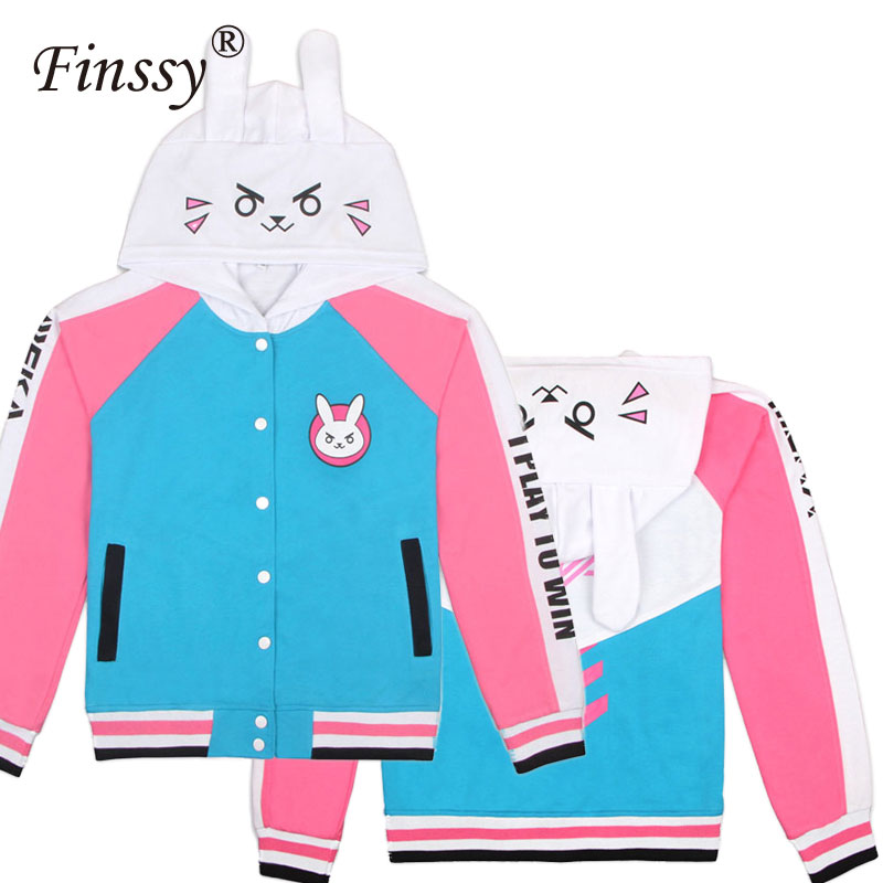 Game DVa Cosplay Costume for Girls Women Adult D.Va Hoodie Baseball Coat D.Va Jacket for Men Women