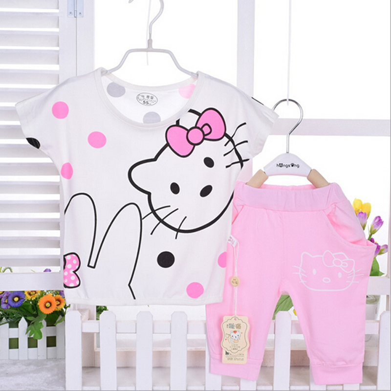 New arrival baby girl sets Lovely kitty cartoon 2 pcs/set Red and pink color 100% cotton 1-2 years baby clothes infant clothing