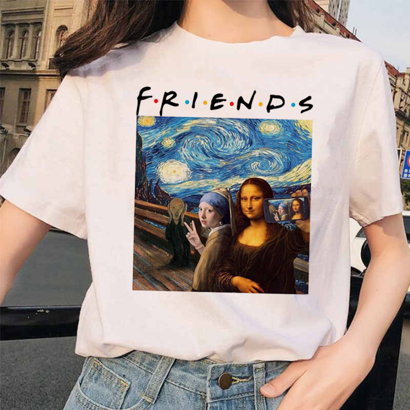 Mona Lisa T Shirt Streetwear Clothes Hip Hop Style Casual Friends Short Sleeve Harajuku Tshirts Top Tees Women Female 90S Funny