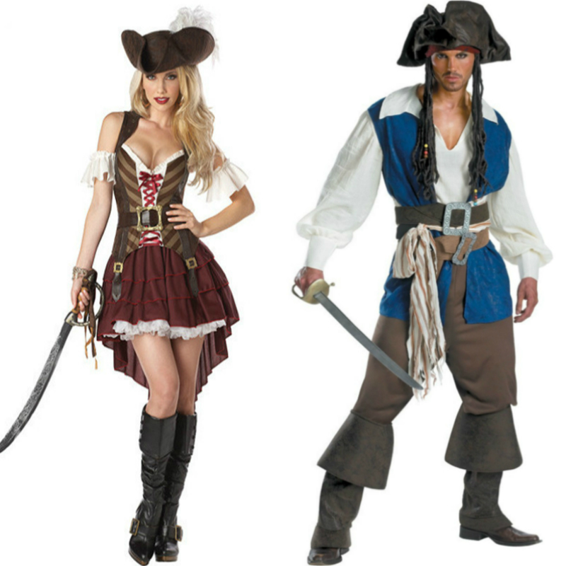 Women Dress Armor Jackets Anime Cosplay for Captain Jack Pirates of the Caribbean Movie Vestidos Costume in Halloween Carnival