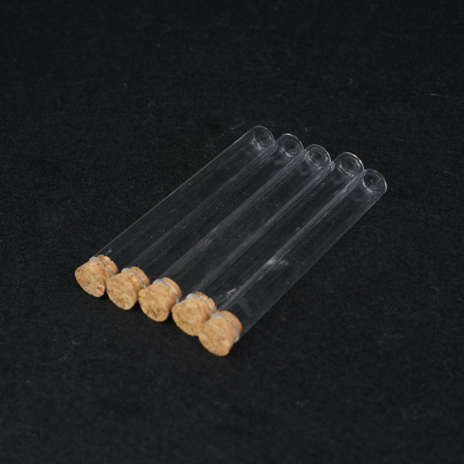 5Pcs 12x100mm Lab Glass Test Tube Flat Bottom With Wood Stopper Thermostability