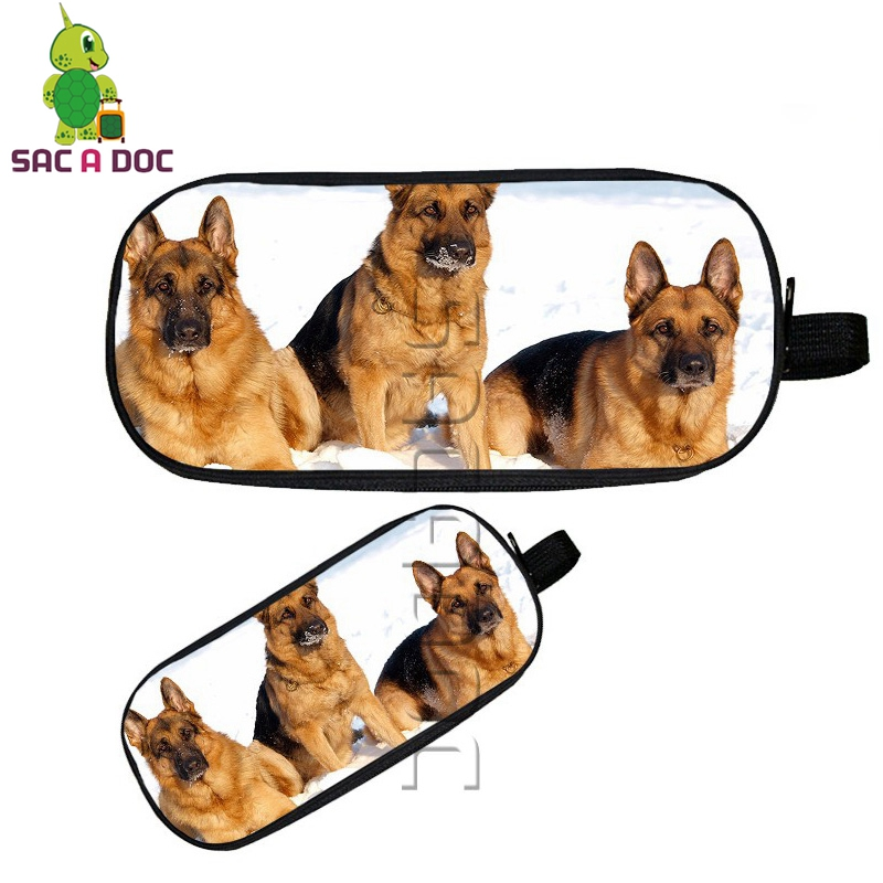Animal Shorthair Cat/Poodle/German Shepherd Cosmetic Cases Large Pencil Case Purse Kids School Supplies Double Layer Dog Bag