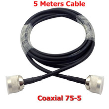Free shipping 5M TV CABLE 75-5 with N connector Coaxial Cable for Digital Video MOBILE PHONE SIGNAL booster repeater amplifier