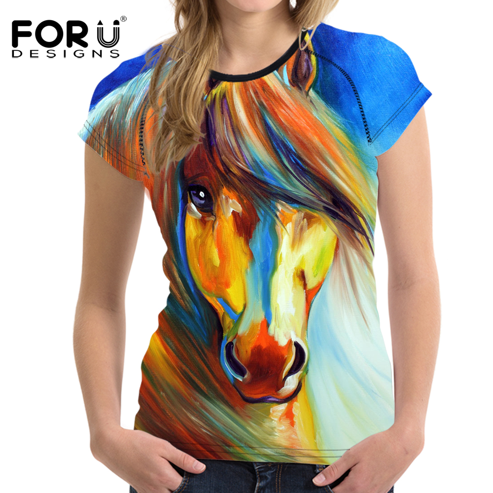 FORUDESIGNS 3D Crazy Horse Women T Shirt Untuk Girls Summer Female Kasual Shirt Pendek Sleeve Ladies T-shirt Wanita Top Feminin