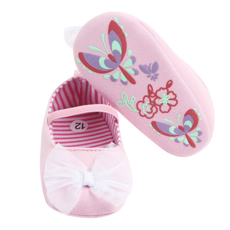 New Spring Baby Girls Cute Butterfly-Knot Princess Shoes First Walkers Infant Toddler Soft Sold Anti-Slip Spring Shoes 2017
