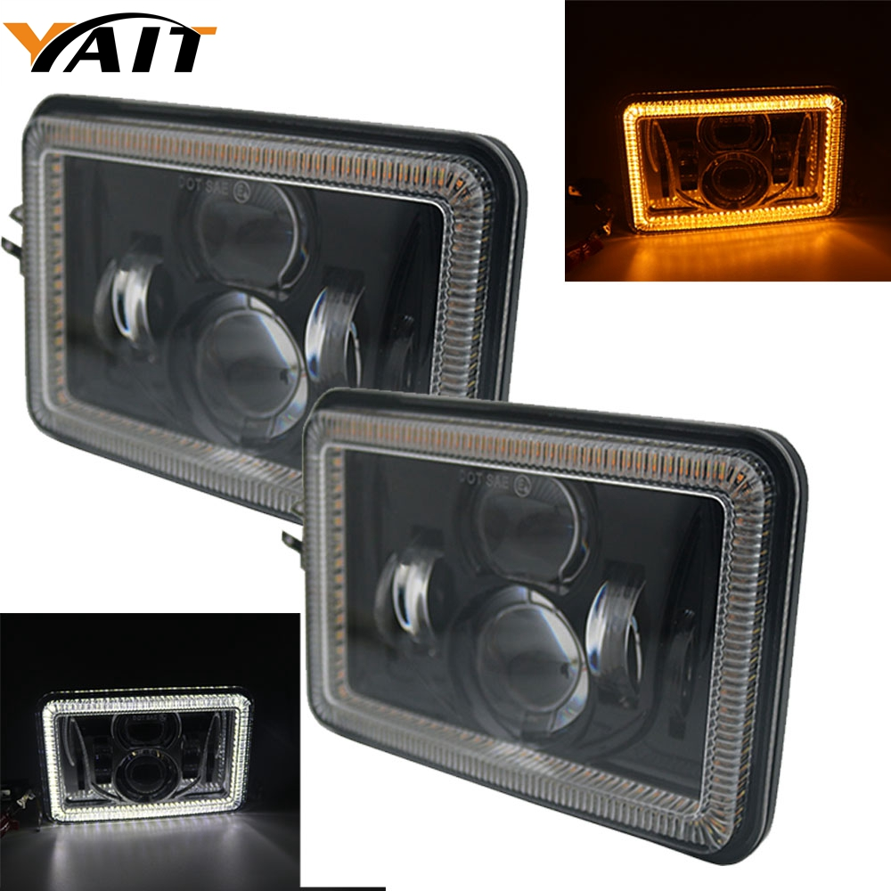 small resolution of yait 4x6 inch led headlights rectangular replacement h4651 h4652 h4656 h4666 h6545 for peterbil kenworth freightinger ford probe