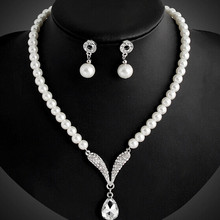 419 Newest Women Wedding Party Jewerly Set Noble Graceful luxury Crystal Simulated Pearl Necklace Earrings Set N4351(China)
