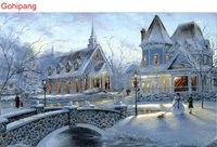 CHENISTORY Snow Landscape Europe DIY Painting By Numbers Wall Art Hand Painted Oil Painting On Canvas