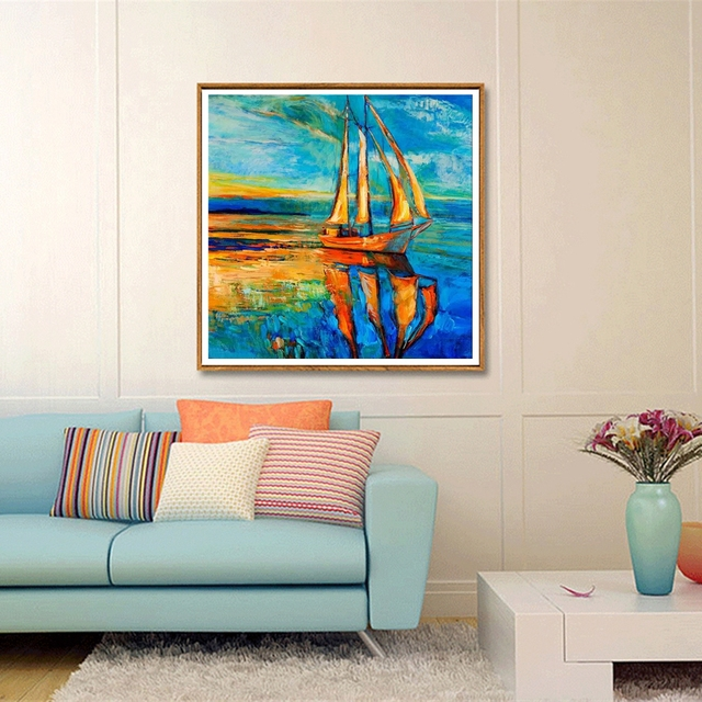 Blue Sailboat Abstract Oil Painting Prints Modern Home Wall Decor Landscape  Picture Canvas Paintings For Living