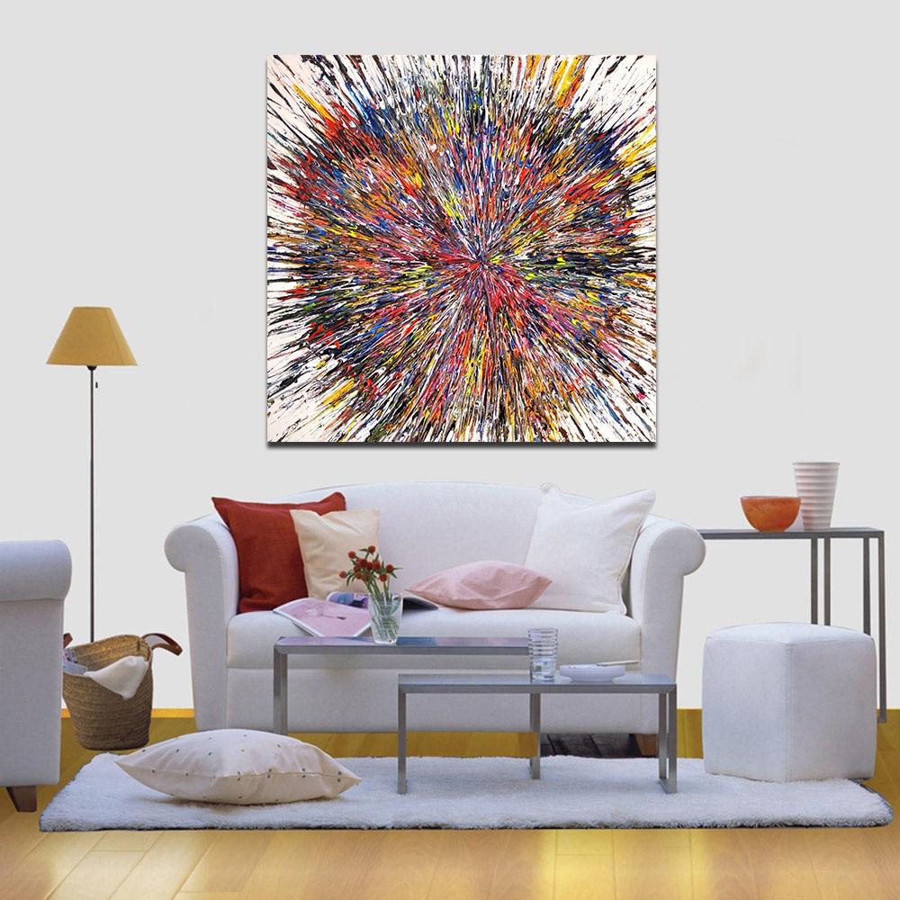 WANG KUNST Abstrakte Malerei Bunte Ball Wohnkultur Bild Wohnzimmer Moderne Leinwand Drucken Wandkunst Kein Rahmen