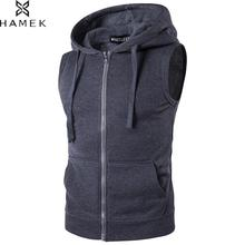 Mens With Pocket Zip Hooded Sport Running Vest Male Basketball Soccer Sleeveless Jackets Fitness Gym Workout Tops Yoga Jogging