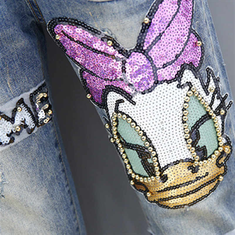 Mono rábano pantalones para mujeres 2019 nueva moda de calle de dibujos animados de estilo lentejuelas cordón Denim Mujer suelta mono marea