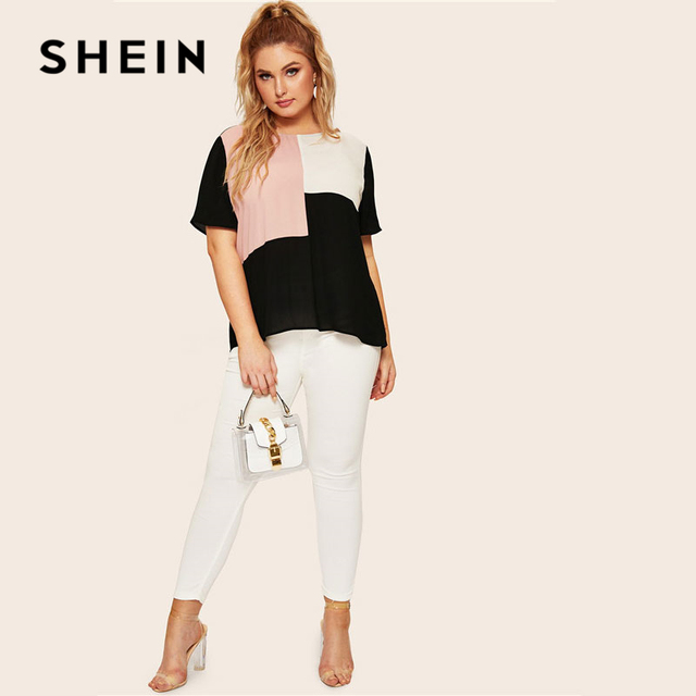 SHEIN Plus Size Keyhole Back Cut-And-Sew Women Blouse Summer Casual Colorblock Round Neck Short Sleeve Blouse Ladies Tops 2
